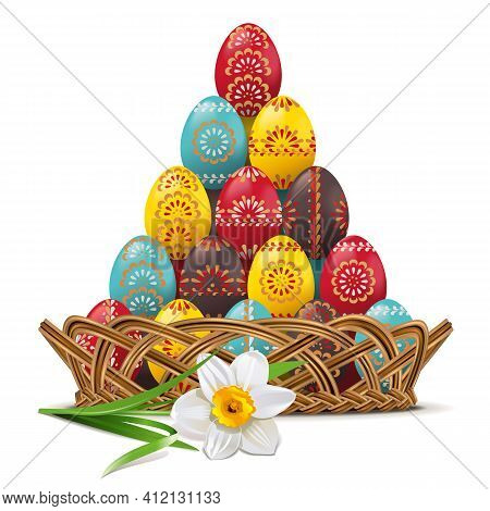 Vector Wicker Dish With Easter Eggs Isolated On White Background
