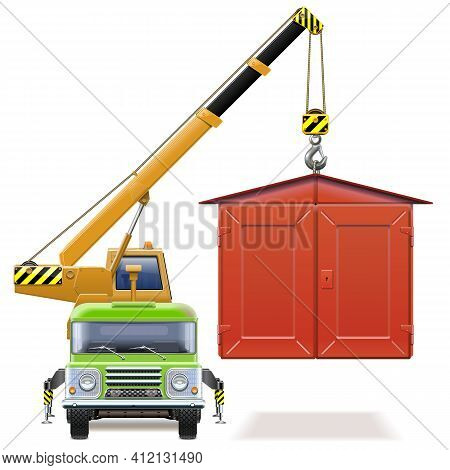 Vector Automobile Garage With Crane Truck Isolated On White Background