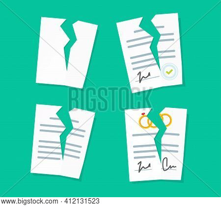 Broken Paper Legal Documents Sheets Icons Set Vector, Breach Of Agreement, Torn Prenuptial Marriage