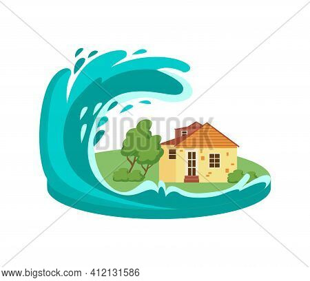 Tsunami Wave Destroying House Flat Vector Illustration Isolated On White.