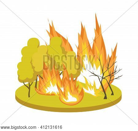 Natural Disaster Symbol With Forest Fire, Flat Vector Illustration Isolated.