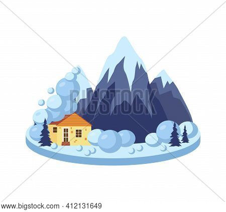 Devastating Effects Of Snow Avalanche Flat Vector Illustration Isolated.