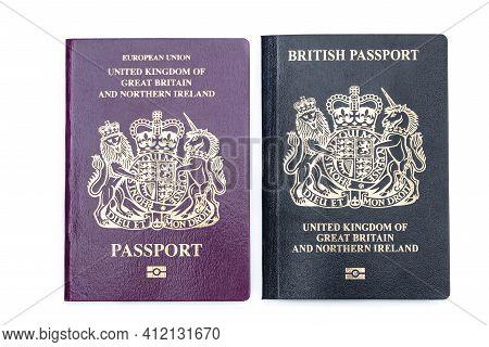 Old Burgundy  Red Passport Vs New Blue Post Brexit 2021 Passport