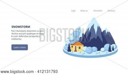 Web Banner With Natural Disaster Of Snowstorm, Flat Vector Illustration.