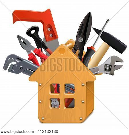 Vector Wooden House Toolbox With Tools Isolated On White Background