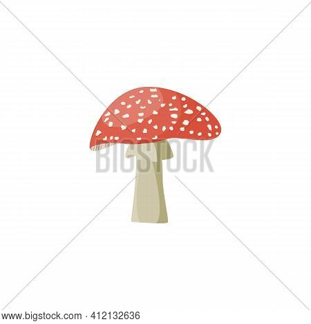 Toxic Forest Fly-agaric Or Amanita Mushroom, Flat Vector Illustration Isolated.