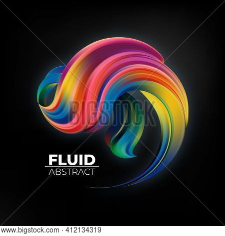 Colorful Abstract Gradient Blurs. Trendy Vibrant Fluid Colors. Design Element. Futuristic Shape On B