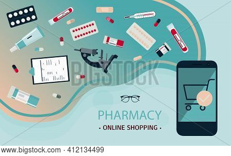 Mobile Application For The Sale Of Medicines Online. Medical Poster With Smartphone, Medicines, Test