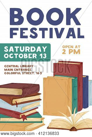 Design Of Vertical Poster With Announcement About Book-reading Festival And Education Event. Colored