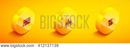 Set Isometric Double Decker Bus, British Crown And Rugby Ball Icon. Vector