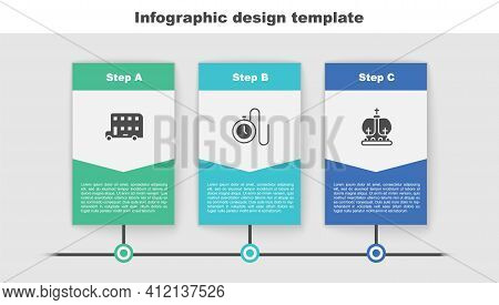Set Double Decker Bus, Watch With A Chain And British Crown. Business Infographic Template. Vector