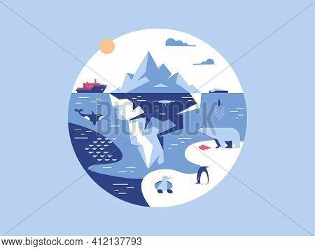 Iceberg In Sea Or Ocean. Antarctic Environment