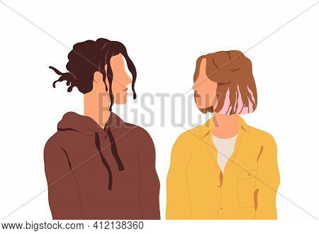 Modern Romantic Love Couple Of Young Man And Woman Standing Together And Looking At Each Other. Hete