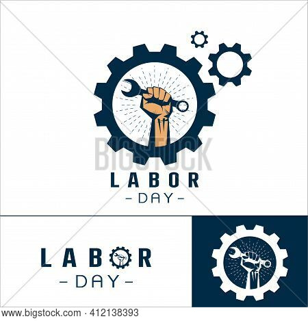Set Of Logo Of  Labor Day Concept With Man Holding Wrench Vector Logo ,labor Day T Shirt Design , Am