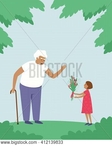 The Granddaughter Gives Flowers To Her Grandfather. Victory Day. The Girl Is Glad That She Saw Her G