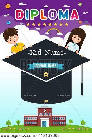 Certificate Kids Diploma, Kindergarten Vertical  Template Layout Background Frame Design Vector Illu