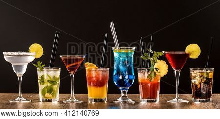 Hard Strong Alcoholic Drinks Big Glasses And Shot Glass In Assortent: Vodka, Cognac, Tequila, Brandy