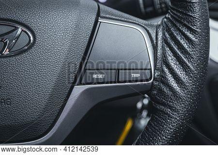 Novosibirsk, Russia - March 2 2021: Hyundai Solaris, Vehicle Interior Of A Modern Car With Voice Con