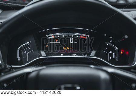 Novosibirsk, Russia - March 2 2021: Honda Cr-v, Car Panel, Digital Bright Speedometer, Odometer And