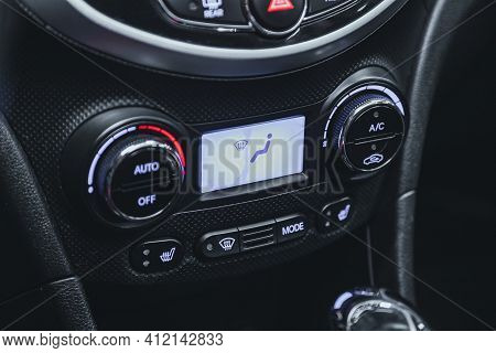 Novosibirsk, Russia - March 2 2021: Hyundai Solaris, Close Up Of  Car Panel With The Air Conditionin