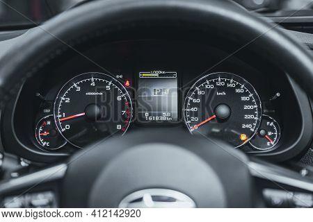 Novosibirsk, Russia - March 2 2021: Subaru Outback, Car Panel, Digital Bright Speedometer, Odometer