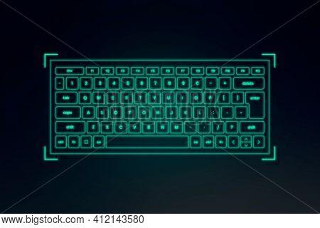 AR keyboard hologram neon green for smart technology device