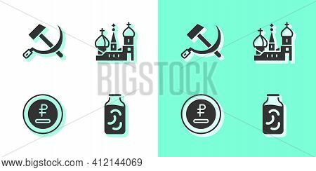 Set Pickled Cucumbers In A Jar, Hammer And Sickle Ussr, Rouble, Ruble Currency And Saint Basils Cath
