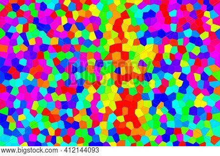 Abstract Bright Background Of Multicolored Mosaic, Consisting Of Pieces Of Irregular Shape, Like Bro