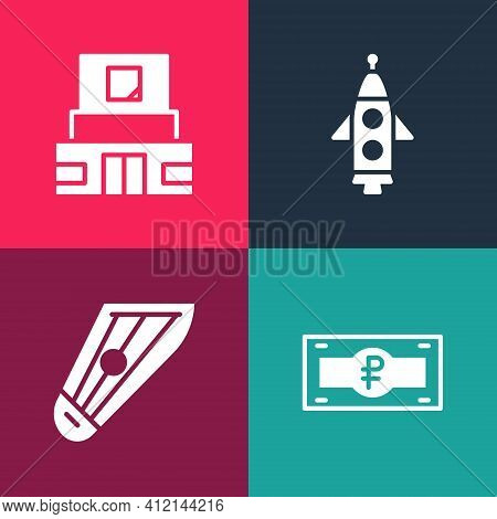 Set Pop Art Russian Ruble Banknote, Kankles, Rocket Ship And Mausoleum Of Lenin Icon. Vector