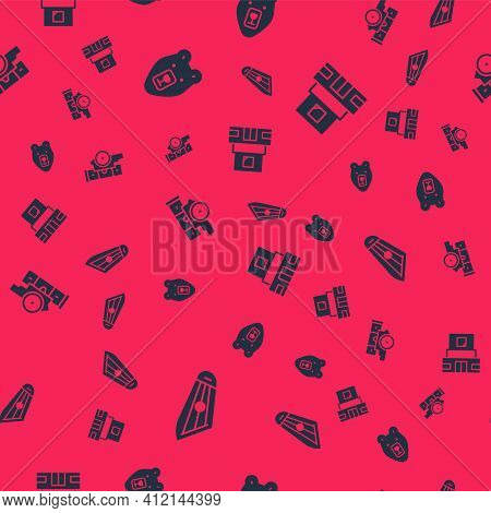 Set Kankles, Bear Head, Cannon And Mausoleum Of Lenin On Seamless Pattern. Vector