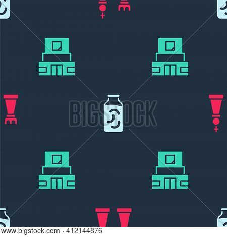 Set Chess, Pickled Cucumbers In A Jar And Mausoleum Of Lenin On Seamless Pattern. Vector