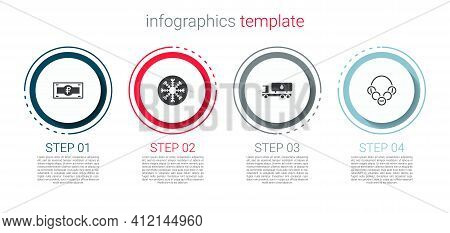 Set Russian Ruble Banknote, Snowflake, Tanker Truck And Bagels. Business Infographic Template. Vecto
