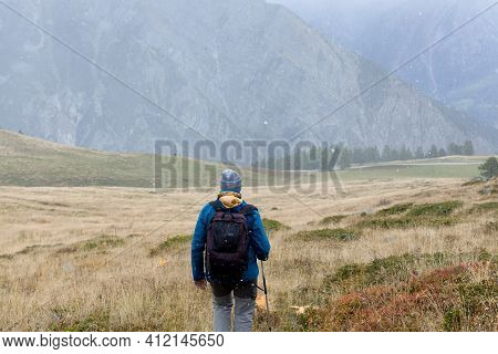 Traveler Exploring Mountains Alone Hiking With Backpack Adventure Journey Summer Vacations Traveling