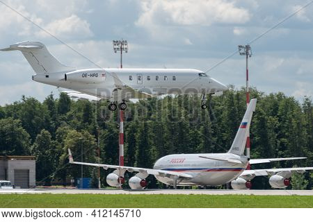 July 2, 2019, Moscow, Russia. Airplane Bombardier Bd-100-1a10 Challenger 300 Amira Air Airline At Vn