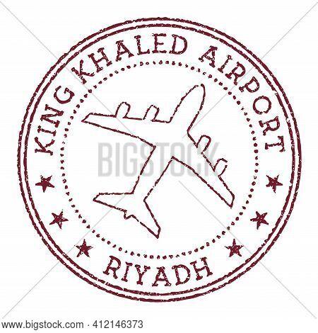 King Khaled Airport Riyadh Stamp. Airport Of Riyadh Round Logo. Vector Illustration.