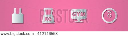 Set Paper Cut Sleeveless T-shirt, Weight, Location Gym And Plate Icon. Paper Art Style. Vector