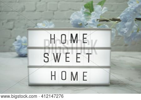 Home Sweet Home Word In Light Box With Flowers Decoration