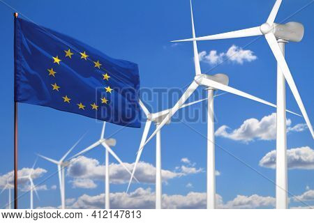 European Union Alternative Energy, Wind Energy Industrial Concept With Windmills And Flag - Alternat