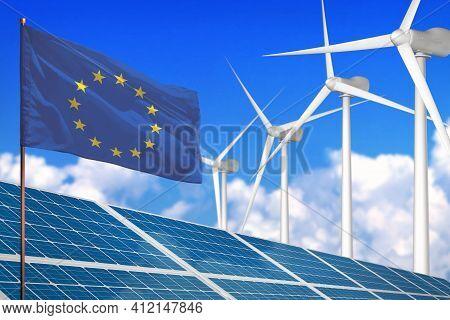 European Union Solar And Wind Energy, Renewable Energy Concept With Windmills - Renewable Energy Aga