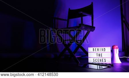 Behind The Scenes Text On Letterboard Lightbox Or Cinema Light Box