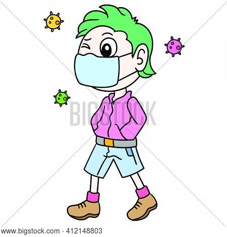 A Man Wearing A Mask, Behavior To Prevent The Virus From Catching Doodle Kawaii. Doodle Icon Image.
