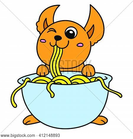 Cute Creature Is Enjoying Eating The Noodles From The Bowl, Doodle Kawaii. Doodle Icon Image. Cartoo
