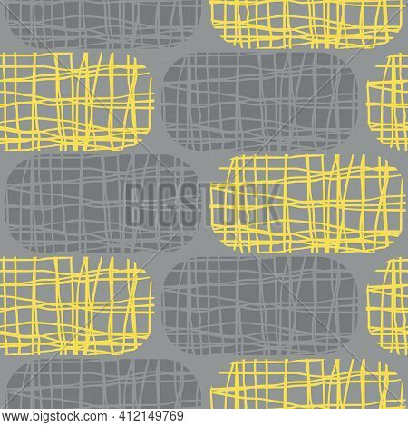 Irregular Weave Effect Vector Rectangles Seamless Pattern Background. Backdrop With Alternating Rows