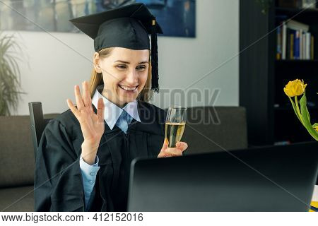 Social Distancing Graduation Party - Female Graduate Wearing Gown And Celebrate Bachelor Degree Onli