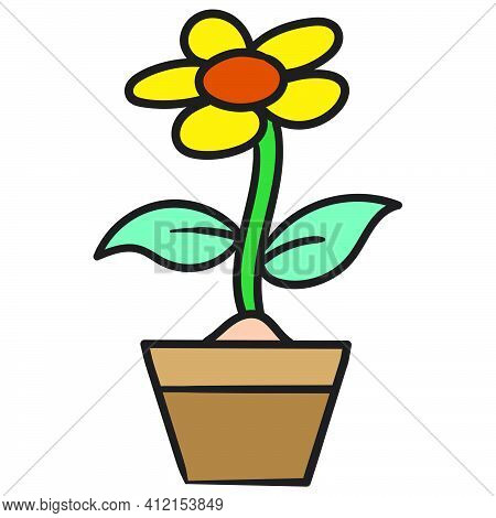 Beautiful Sunflowers In A Pot, Doodle Kawaii. Doodle Icon Image. Cartoon Caharacter Cute Doodle Draw
