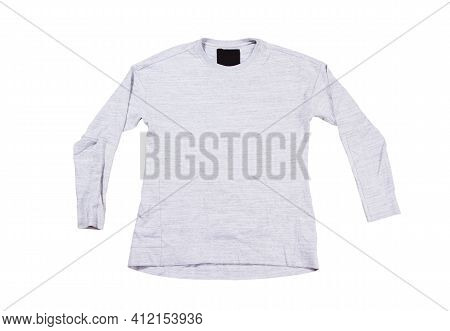 Gray Pullover Isolated On White Background. Gray Sweatshirt Mock Up Empty Copy Space.