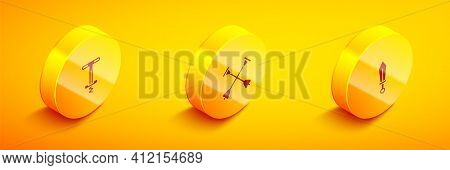 Set Isometric Pogo Stick Jumping Toy, Arrow With Sucker Tip And Sword Icon. Vector