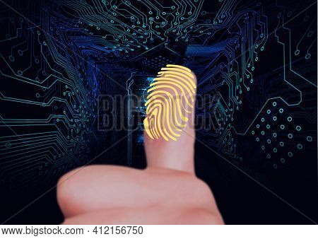 Human thumb scanning over biometric scanner against microprocessor connections on blue background. cyber security and technology concept