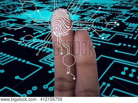 Human finger scanning over biometric scanner against microprocessor connections on black background. cyber security and technology concept