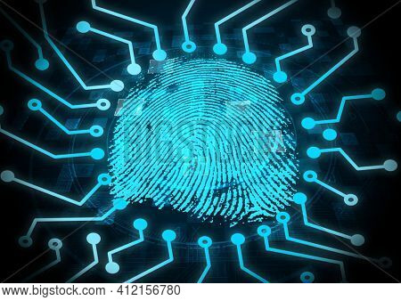 Neon blue microprocessor connections over biometric fingerprint scanner against black background. cyber security and technology concept
